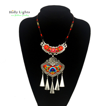 For women ethnic necklace&pendant multicolor boho choker tribal bohemian collar big female jewellery embroidery flower 2017 new