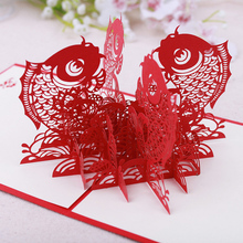 Double Fish Chinese Style 3d Pop Up Greeting Card Postcard Wedding Holiday Greeting Card Gift Accessories(China)