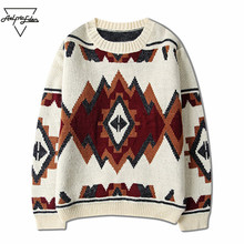 Aelfric Eden Men's Sweater Casual Splice Color Harajuku Argyle Sweaters Japanese Pulover Hip Hop Knitted Hombre Sweaters SNL670(China)