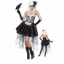 Sexy Women Halloween Vampire Costume Zombie Ghost Bride Cosplay Fancy Dress Lace Mini Tutu Dress Skeleton Size M XXXL