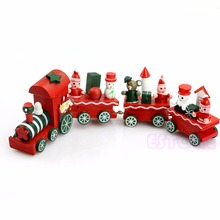 Lovely 4 Piece Wooden Christmas Santa Tree Train Toy for Kids(China)