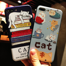 Lovely Korean Cartoon Cat Silicone Full Body Case for iPhone 7 6 6s 5 5s Case soft Phone Cases Back Cover for 7 6 plus Coque