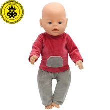 43cm Baby Born Zapf Doll Clothes Red Shirt Grey Trousers Set Princess Dress Zapf Doll Accessories Handmade Causal Style 095(China)