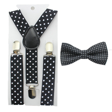 Fashion boys bow tie girls dot bowtie and dot kids suspender set adjustable boy tie kids accessories