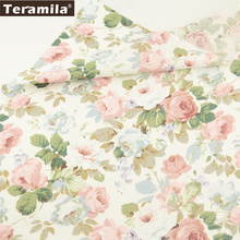 Teramila Fabric New Printed Blooming Rose Flower Designs Soft Twill Tissue 100% Cotton Material Bed Sheet Quilting Patchwork(China)