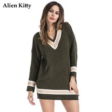 Alien Kitty Winter V-Neck Striped Women Oversized Sweaters 2017 Long Knitted Female Pullovers Full Sleeve Autumn Fashion New(China)