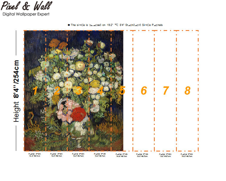 A bouquet of flowers in a van gogh bottle mural photo home accessories decoration living room decoration STDM30593 21