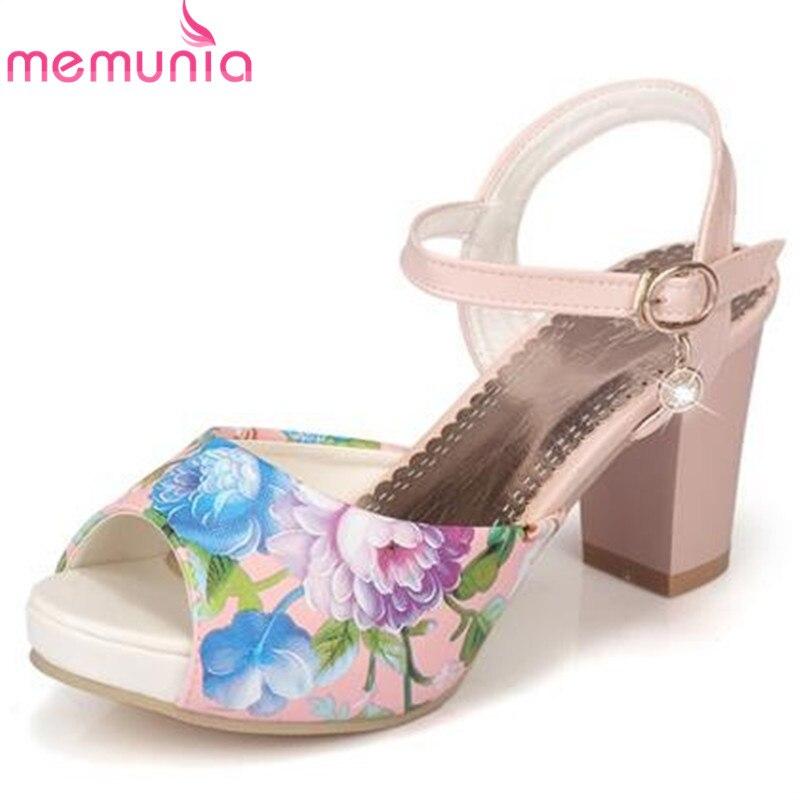 MEMUNIA New fashion women sandals printing leather peep toe ethnic bohemia high heels sandals platform prom wedding shoes<br>