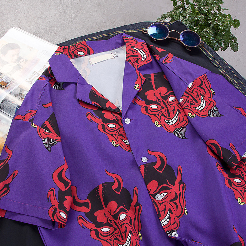 Devil Full Printing Turn-down Collar Casual Shirts Men hip hop streetwear harajuku japanses korean shirts men women 09