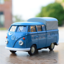 Welly cool 1:36 mini classic Volkswagen T1 bus pickup truck alloy model car toy birthday gift blue 1pc
