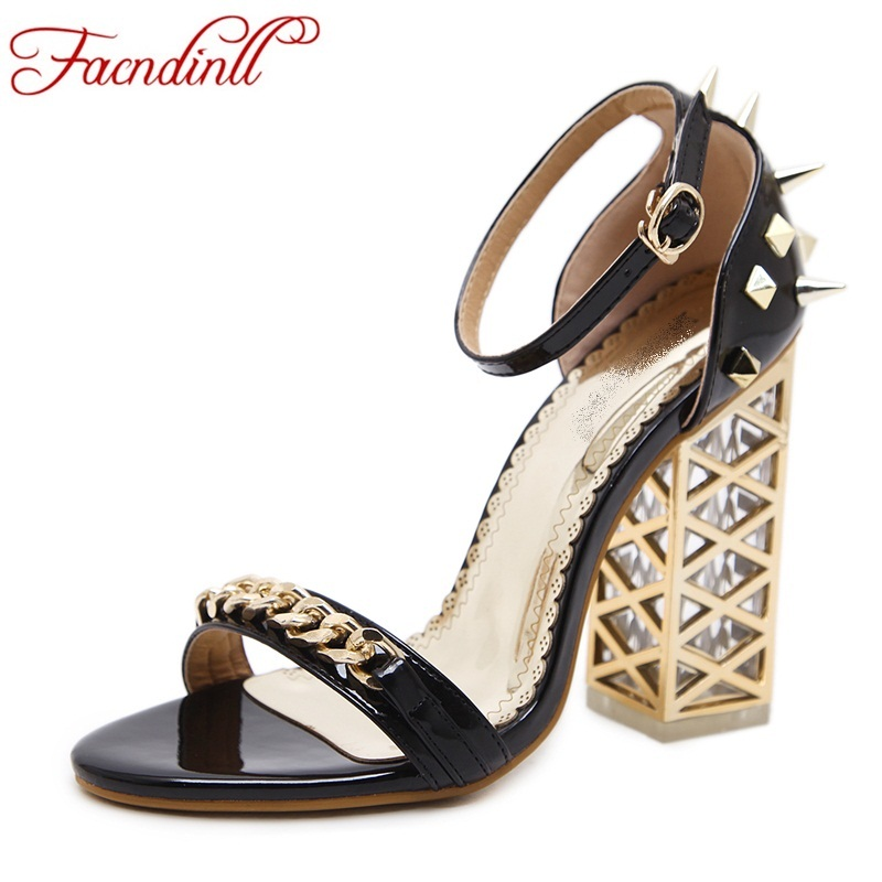 patent leather sandals sexy open toe high heels transparent crystal fretwork heels fashion women sandals ladies party dress shoe<br>