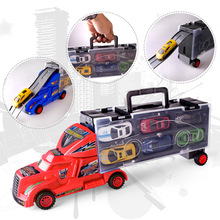New The cross-country Container Truck with 12 Mini Cars Children Racing Car Brinquedos Kid pull back Cars Machine Model Toy Gift