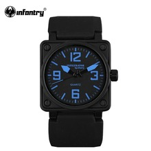 INFANTRY Mens Quartz Watches Marine Military Sports Military Watch Original Brand Aviator Blue Silicone Watch Relogio Masculino(Hong Kong)