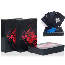 Quality Waterproof PVC Plastic Playing Cards Set Trend 54pcs Deck Poker Classic Magic Tricks Tool Pure Black Magic Box-packed(China)