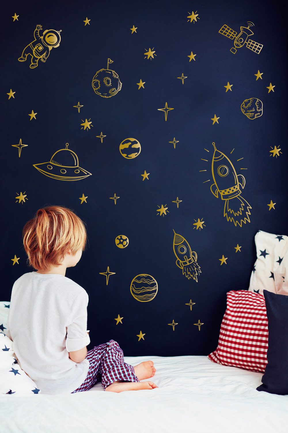 Spaceship Decal Outer Space Wall Decal Spaceman Wall Decal Astronomy Wall Decal Astronaut Wall Decal Planets Stars Boys Room Decor