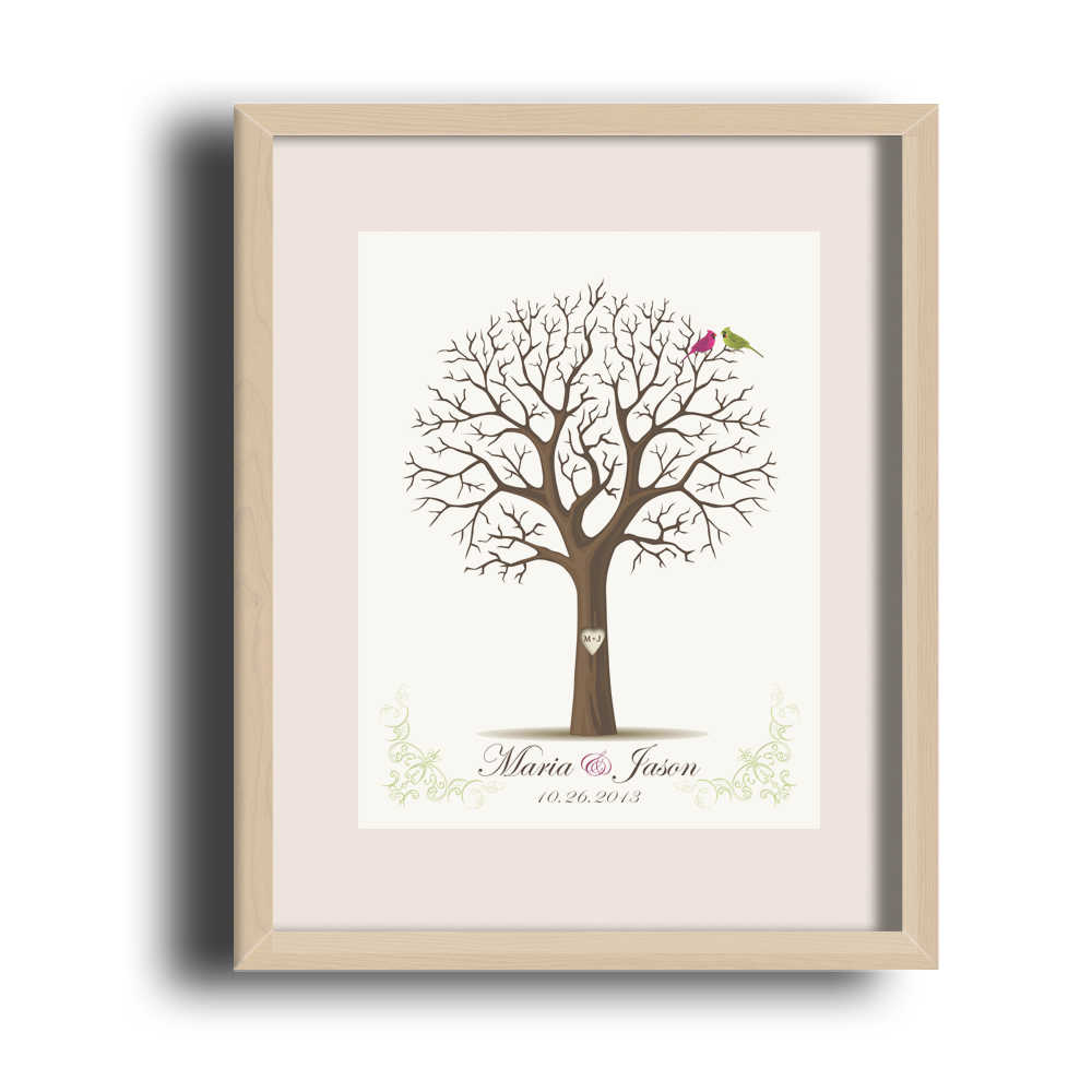 Personalized Finger Graffiti Tree Wedding Canvas Painting Signature Guestbook With Ink Pad Gift Pretty Baby Shower HK069