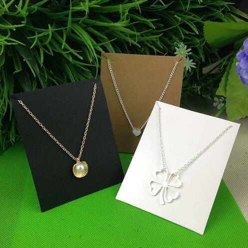 New-Hot-White-10X8CM-Kraft-Pendant-Card-Necklace-Card-1lot-100-card-100-opp-bag-Blank