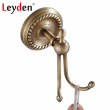 Leyden High Quality ORB/ Antique Brass Double Clothes Coat Robe Purse Hat Hooks Wall-Mounted European Brass Bathroom Accessory(China)