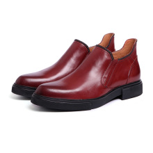 Genuine leather ankle boots men fashion slip on round toe business dress leather boots autumn winter mens luxury wedding shoes