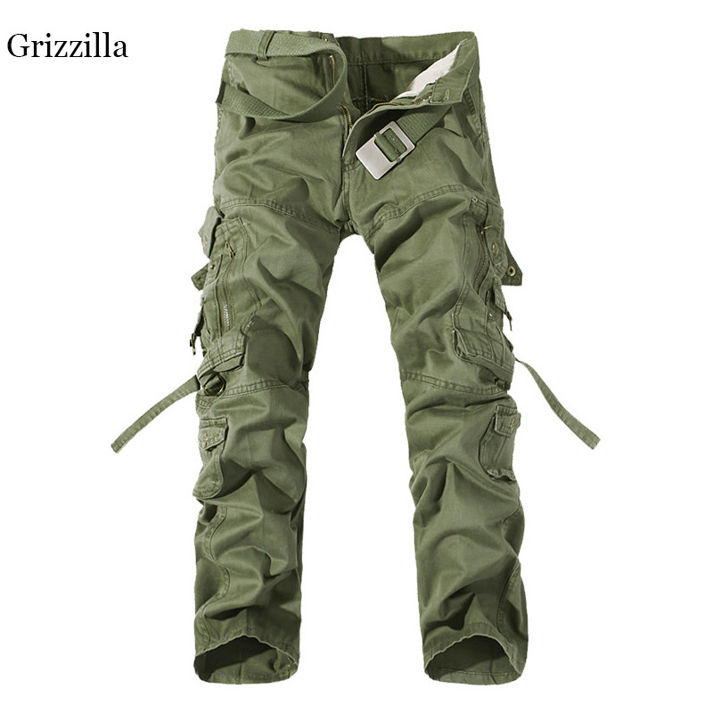 Mens Casual Loose Cargo Pants Combat Military Pants Work Hiking Outdoor Trousers