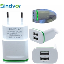 Sindvor 2.1A/1.0A Wall Charger Dual Ports Travel Charger Mini USB LED Light Fast Charging Power Adapter for iPhone Android Phone