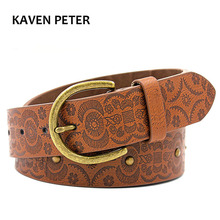 Fashion Women Print Metal Belts With Antique Gold Buckle Fashion Accessories Brown Lady Belt 40 MM Free Shipping(China)
