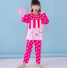 2018 2-12Year spring autumn Childrens princess clothing Sets Boys Girls Tops+pants Cotton Pijamas kids Cartoon Sleepwear Pajamas(China)