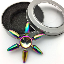 Buy Rainbow Colorful Six Arms Bullet Metal Fidget Spinner Fingertip Gyro EDC Hand Spinner Autism ADHD Stress Relief Toys for $4.99 in AliExpress store