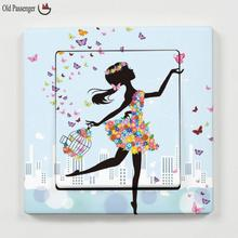 Old Passenger _ New listing switch stickers Fashion Modern DIY Decorative Mural PVC Girl Butterfly Bedroom Room Wall Sticker