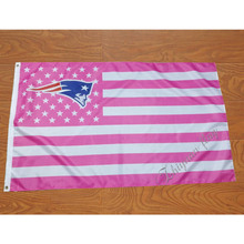 New England Patriots flag Super Fan 100D polyester pink stripe flag(China)