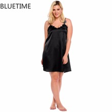 BLUETIME Plus Size Sleep Dress Nightgown Summer Spaghetti Strap Lace Satin Sleepwear Sexy Night Home Nighty Lady Clothes 4XL 30A(China)