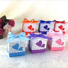 30pcs Love Heart Laser Cut Hollow Gift Candy Boxes Wedding Party Favor Gifts Candy Bags With Ribbon Casamento Party Supplies