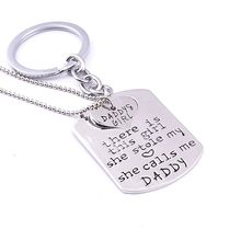 "New Daddy&Girl Love Heart Necklace Keyring Set ""there is this girl she stole my heart she calls me Daddy"" Letter Pendant Jewelry(China)"