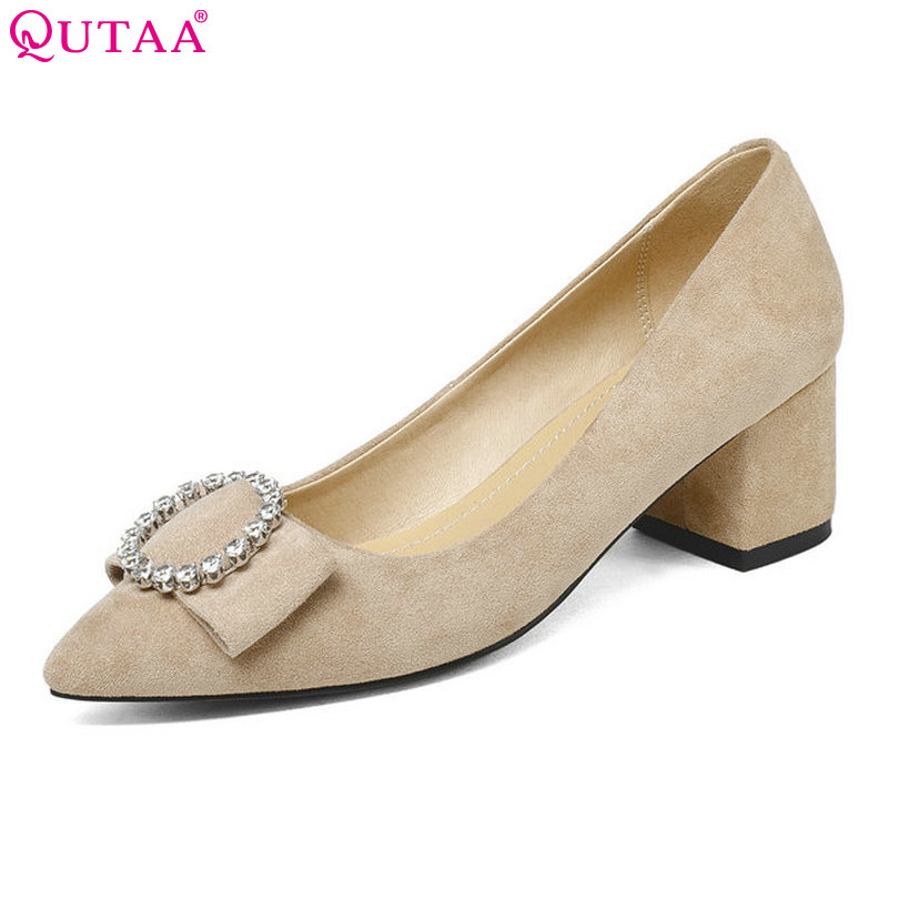 QUTAA 2018 Shoes Women Flock Square High Heel Platform Women Pumps Crystal Pointed Toe Ladies Wedding Woman Shoes Size 34-43<br>