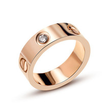 316 Titanium Steel carter Love Rings for Women Men Couples Anel Cubic Zirconia Wedding Ring Bands Logo Pulseira feminina jewelry(China)