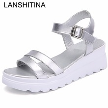 2017 Fashion Genuine Leather Handmade Shoes Summer Women's Sandals Flat Platform Open Toe Slippers Big Size Beige White Mules