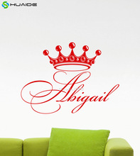 Personalized Girl Name Wall Decal Diadem Crown Princess Custom Name Monogram Mirror Wall Sticker For Kids Nursery Mural A491