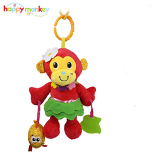 Super cute Red monkey Rattles & Mobiles Baby girl toys Soft Enlightenment plush toy with Teether multifunctional Rattling(China)