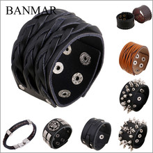 BANMAR Steampunk Fashion Braided Genuine Leather Wristband Friendship Big Wide Bracelet for Men Buckle Vintage Punk Jewelry