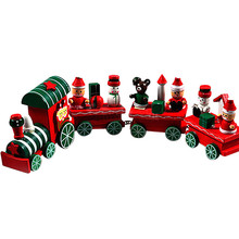 Lovely Charming 4 Piece little train Wood Christmas Train  Gift DIY Christmas puzzle toy
