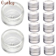 Makeup Storage 50Pcs Clear Plastic Empty Cosmetic Sample Containers Jars Pots Small 3g contenedores Refillable Bottles 2017d14(China)