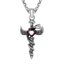 Black Enamel Silver Tone Stainless Steel Angel Wing Sword Red CZ Pendant Necklace 60CM SS Chain