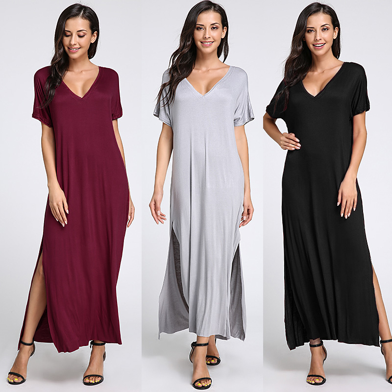 Sexy Deep V Neck Maxi Dress 2018 Summer Women Short Sleeve Solid Split Long Dress Casual Ladies Clothes Beach Vestido Plus Size