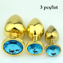 3 pcs/lot Gold Stainless steel Diamond Crystal metal butt anal plug anal vibrator Adult Anal Sex Toys for Men Anal Sex Products