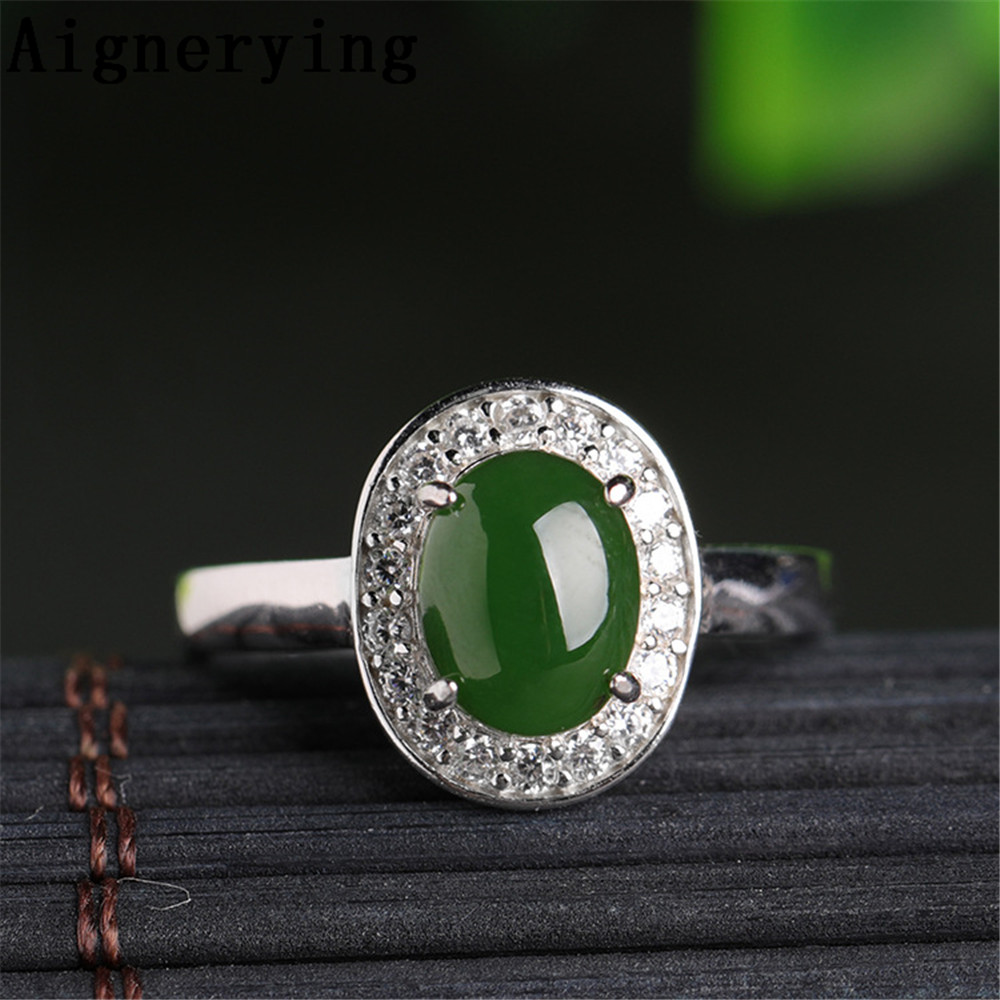 Supply Vintage Certificate Natural green Jade rings Real 925 sterling Silver Cool Finger Jewelry Women adjustable Cute Ring Gift