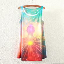 2017 summer new Buddha people style women sleeveless t-shirt printing lady long section Female t shirt women clothing tops tees