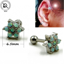 Piercing Tragus 316L Surgical Steel Ear Cartilage Helix Barbells Lip Ring Labret Stud Opal Stone Flower Earring Body Jewelry(China)