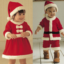 Baby Clothing Set Santa Clause Cosplay Costume Long Sleeve Girls Christmas Party Dress with Hat Boys Winter Clothes baby kleding(China)