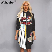 Wuhaobo Brand New Beauty Ladies Embroidery with special beads Shirt Dress Fashion Sexy Women Long Sleeve Loose Casual Dresses(China)
