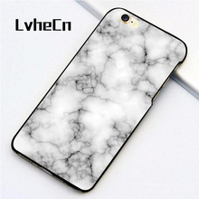 LvheCn 5 5S SE phone cover cases for iphone 6 6S 7 8 Plus X back skin shell Novalty Marble Pattern(China)